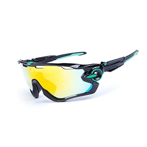 Adesugata - occhiali da solesportivi --- occhiali da sole sportivi polarizzati uv400,protezione all'esterno, occhiali da sole per uomini e donne con 5lenti intercambiabili per corsa, ciclismo, sci, golf., black