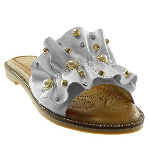 Angkorly Chaussures Mode Sandales Mules Slip-on Femme À Volants Perle Bijoux Bloc Talon 1.5 Cm Blanc