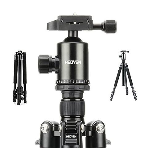 Heoysn Leichtgewichtiges Stativ Tragbare mit 360° Kugelkopf aus hochwertigen Aluminiumlegierungen. Professionelles Kamera Stativ. Kompatibel mit Canon/Nikon/Olympus/Pentax DSLR-/Bridge- und allen Kameras mit Gewindefuß-Schwarz