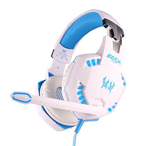 KOTION EACH G2100 LED 3.5mm Stereo Gaming LED Con el Auricular de Diadema con Micrófono para PC Juego de Ordenador con Cancelación de Ruido y Volumen Blanco + azul