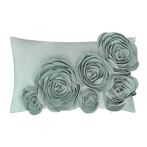 jw 3D Handmade Rose Blumen Accent Kissen Samt dekorative Kissen Home Sofa Auto Decor pillowslips rechteckig 30,5x 50,8cm, Polyester-Mischgewebe, himmelblau, 12 x 20 Inch