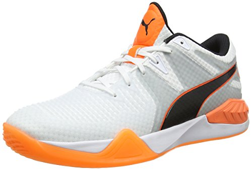 Puma Herren Explode 1 Multisport Indoor Schuhe, Weiß White-Quarry-Shocking Orange, 47 EU