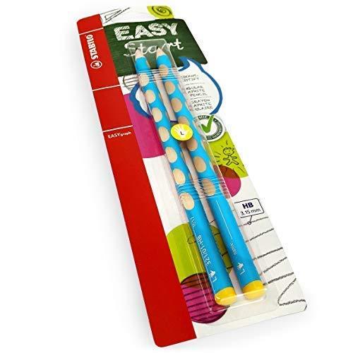 Stabilo Easygraph Escritura a Mano Lápices - Hb - Zurdos - Luz Azul Barril - Pack de 2