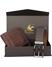 Hornbull Men's Brown Wallet and Brown Belt Combo BW3089