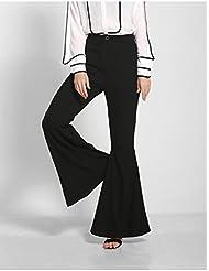 ZLL Damen Mode Horn Schweif Hose hoher Taille Damenhosen weites Bein , l