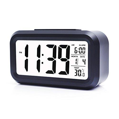 Ankoda® batteriebetriebener LED Digital-Wecker mit extra großem Display, Snooze, Datumsanzeige, Temperatur und Sensor Licht (schwarz)