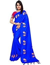 High Glitz Fashion Women's Royal Blue Color Figure Embroidery Work Saree With Blouse Piece