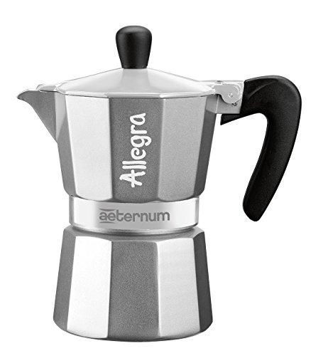 Bialetti Allegra Caffettiera Espresso con 6 Tazze 6, Alluminio, Grigio, 17x10x21 cm