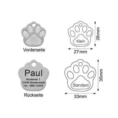 kultdog Pfote Hundemarke mit Gravur aus Edelstahl oder 24K Gold – Adressanhänger in 2 Größen – Tiermarke für Hunde und Katzen inkl. Schlüsselring