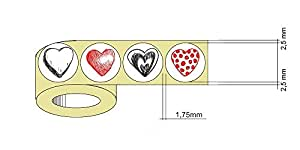 Style 6 : 1,000 Small Red Heart Stickers 4 Designs In 1 Roll - 250pcs. Red Heart Labels Designs From Each Style ( Style 6 )