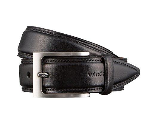 Windsor. Gürtel Herrengürtel Ledergürtel Schwarz 3168, Länge:110 cm, Farbe:Schwarz