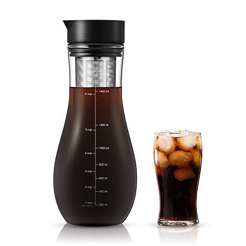 soulhand Kaffeebereiter für Cold Brew,Kaltbrüh-Kaffeemaschine, Eiskaffeemaschine - 1,5L aus Borosilikatglas geeignet für heiße und kalte Teebrühungen Kaltbrühsystem für Home Office Eiskaffee und Tee (Cold Brew-kaffee-tasse)