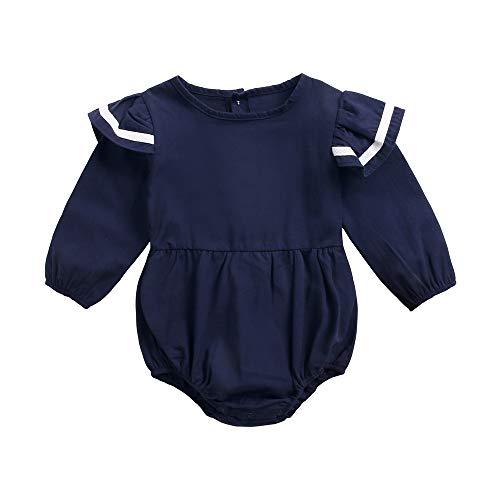Sanlutoz Mode Coton Longue sans Manches Bodys Hiver Barboteuse pour Filles Tenue (12-18 mois/80cm, BRW8157-NV)