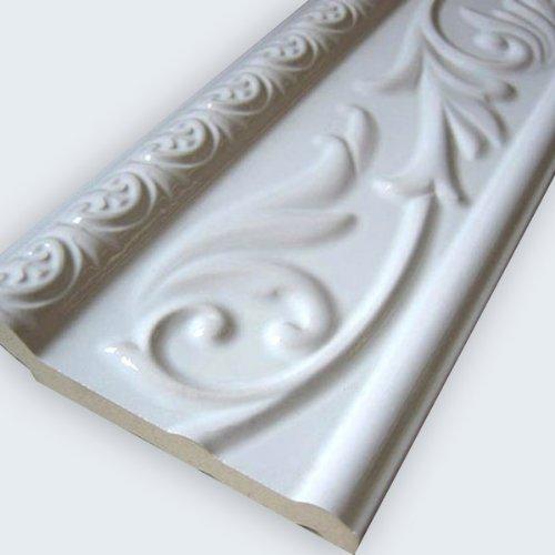 Wand Bordüre Weiss Glänzend 10x30cm
