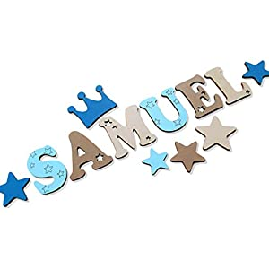 Holzbuchstaben Kinderzimmer -Tür in tollen Farbkombinationen I Kinderzimmerdekoration I Perfektes Geburtsgeschenk oder Taufgeschenk. Inkl. Klebepads I Größe 7cm