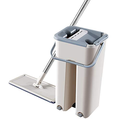 KOUQI Flat Squeeze Mop und Eimer, Handfreier Wischmopp zum Reinigen des Fußbodens, Waschbare, Wiederverwendbare Mikrofaser-Wischpads im Lieferumfang, Nass- oder Trockengebrauch auf Hartholz, Laminat