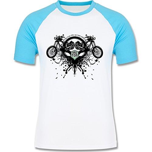 Motorräder - Biker - true life - zweifarbiges Baseballshirt für Männer Weiß/Türkis