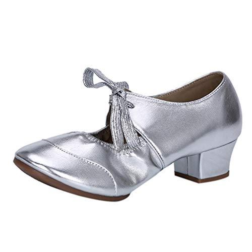 Tänzer Zeitgenössische Kostüm - Damen Nackt Latein Tanzen Schuhe Modern Ferse Bedecken Einzelne Schuhe Freizeit SchnüRen Quadratische Fersen 4Cm Plattform Pumpe Charakterschuhe Tanzschuhe Ballroom Schuhe