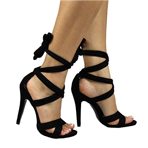 Donna Ankle Tie Punta Aperta Tacchi A Spillo Moda Ritagliare Sandali Tacchi Alti - Nero - UK8/EU41 - YE0024