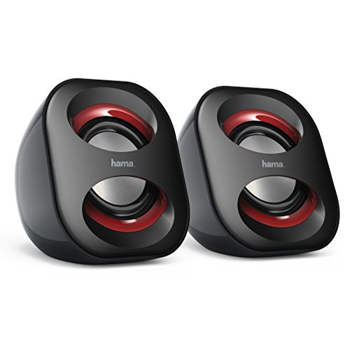 Hama PC Lautsprecher Sonic Mobil 183 (USB 3.0, 3,5 mm Klinke, 3 W, aktive Boxen für Computer, Laptop, Notebook, Smartphone, Tablet) schwarz/rot Mini Laptop Lautsprecher