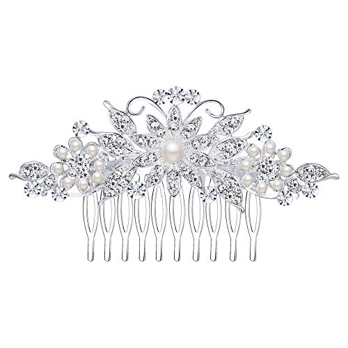 Ever Faith Damen Haarkamm Österreichischer Kristall Simulierte Perle Hochzeit Blume Blatt Braut Haar Schmuck Klar Silber-Ton