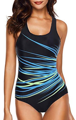Socluer Maillot de Bain 1 Pièce Femme Amincissant Slim Monokini de Sport Rembourré sans Armature(3XL (FR 46/48),Bleu)