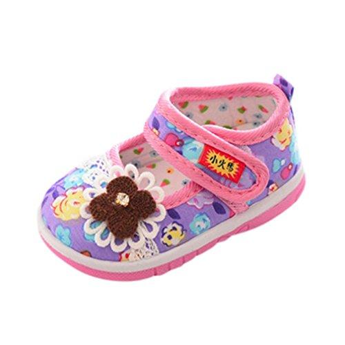 FNKDOR Kinder Baby Quietsche Schuhe Weiche Sohle Quietschende Blumen Lauflernschuhe(21 Länge: 14 cm,Violett) (Quietschende Schuhe)