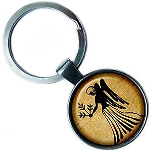 Zodiac Virgo Tierkreis Jungfrau Silver Keychain Silber Schlüsselanhänger