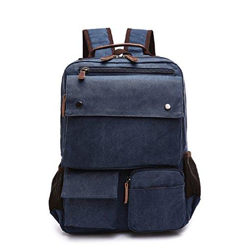 LF&F Neue Retro-Leinwand-Taschen Outdoor-Sporttasche beiläufiger Schulterbeutel Rucksack Laptoptasche Multifunktions Wandern Reiten Bergsteigen Dark Blue