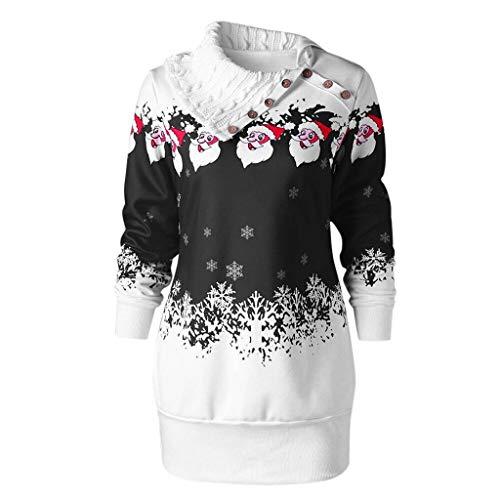 Linlink Frauen Weihnachten Weihnachtsmann Schneeflocke Print Skew Neck Buttons Tunika Langes Sweatshirt Top - 50's Stil Übergröße Kostüm
