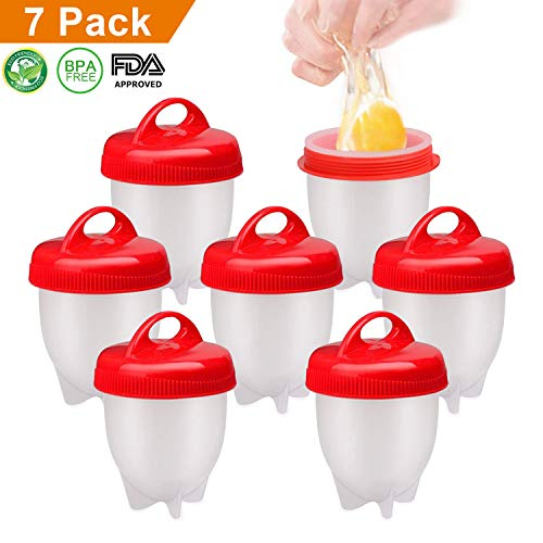 Ameu cuoci uova sode, cuociuova senza guscio cottura stampo cucinare uova sode antiaderente in silicone bpa free 7 pezzi