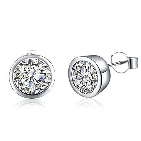 Gnzoe Silver Plated Women Stud Earrings Silver Round Cut Cubic Zirconia Bezel Set