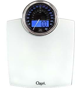 Bilancia digitale da bagno Ozeri Rev con quadrante elettromeccanico (bianca)
