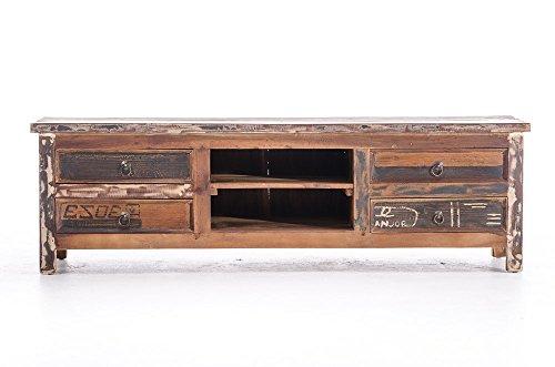 CLP TV Sideboard LAHOLM aus massivem Teakholz mit 4 Schubladen, 150,5 x 50 cm, Höhe 45,5 cm bunt - 2