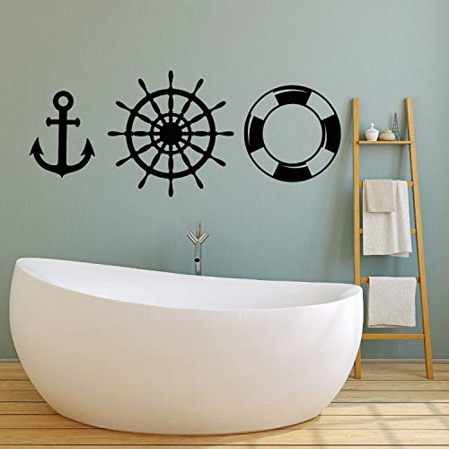 Boot-Tool Vinyl Wandtattoo Anchor Lifebuoy Ozean-Art-Schiffs-Aufkleber Badezimmer-Wand-Dekor-Kind-Raum-Tapete LA889, H627 Gray, 136cmx56cm -