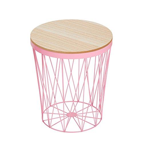 Riess Ambiente Moderner Couchtisch Beistelltisch STORAGE II rosa mit Holzdeckel Korb Aufbewahrung Tisch mit Eiche Ablage Aufbewahrungskorb