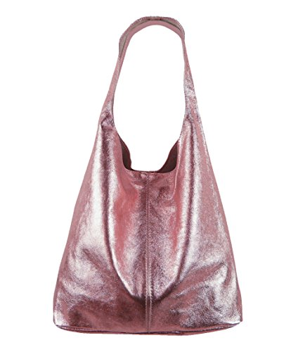 Freyday Damen Ledertasche Shopper Wildleder Handtasche Schultertasche Beuteltasche Metallic look (Rosa Metallic) Grau Metallic-leder