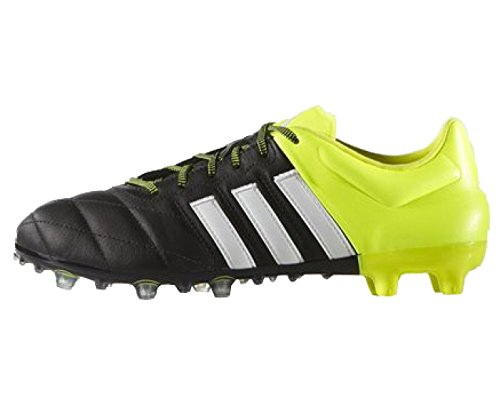 Chaussures Adidas ACE 15.2 FG/AG Leather Noir - Nero/Bianco/Giallo