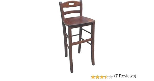 Sgabello in legno noce con schienale e seduta in legno legno