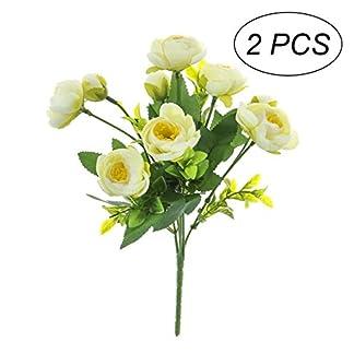TOYANDONA 2pcs Flores Artificiales de Camelia Ramo de Plantas Falsas para Paquete para la Boda decoración del hogar (Blanco)