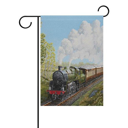 LIANCHENYI spezielle Dampflok und Eisenbahn Landschaft doppelseitig Familie Flagge Polyester Outdoor Flagge Home Party Decro Garten Flagge 71,1x 101,6cm