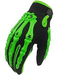 Madbike Gantes de motocross completos, diseño de esqueleto, color verde, tamaño mediano