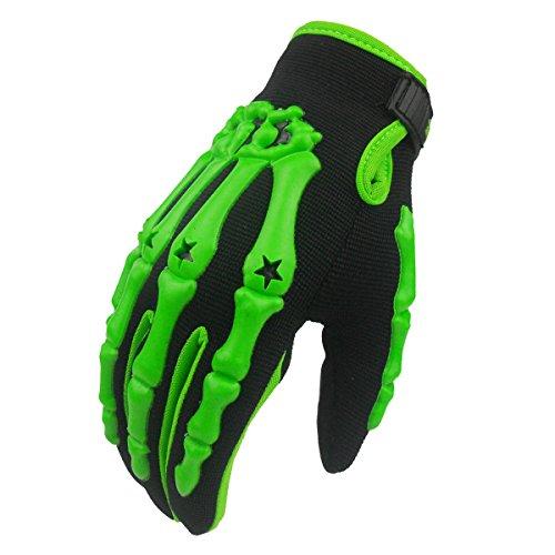 MADBIKE, guanti integrali da moto e motocross, motivo: scheletro, green, XL