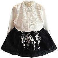 Moonuy Niño de los cabritos de las muchachas de los muchachos O-cuello sólido de la ropa de los vestidos del cordón de la camisa de Breasted solo + Bowknot de la falda de Tulle (Blanco, 15)