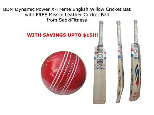 BDM Dynamic Power X-Treme English Willow Cricketschläger, SH mit Einem Gratis sabkifitness Cricket Leder Ball