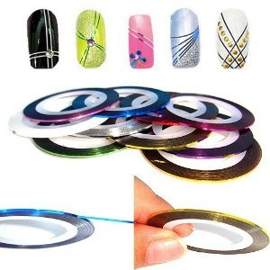 Nail Art Lot de 10 rouleaux de ruban pour nail art