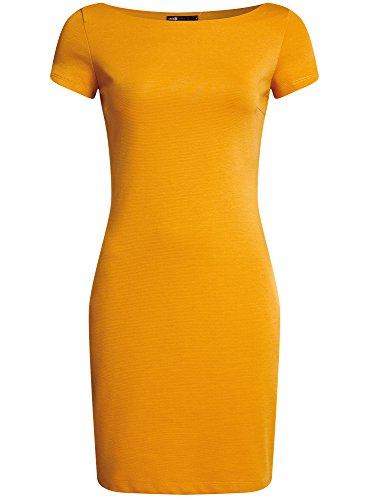 oodji Ultra Damen Jerseykleid mit U-Boot-Ausschnitt Gelb (5200N)