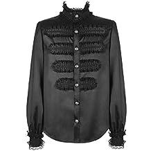 Camisa Negra Brillante Inspiration Militar hombre encaje gótico victoriano Punk