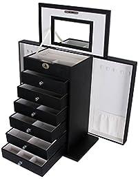 Songmics Boîte à bijoux Coffrets Boîte à maquillage, Bijoux et cosmétique Beauty Case Noir JBC06B