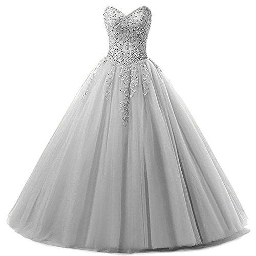 Zorayi Damen Liebsten Lang Tüll Formellen Abendkleid Ballkleid Festkleider Silber Größe 34